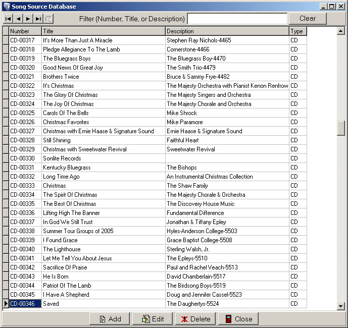Music Listing